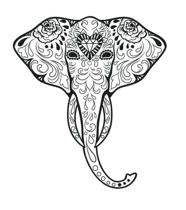 Elephant Sugar Skull Coloring Page