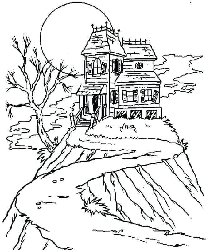 Free Printable Haunted House Coloring Pictures