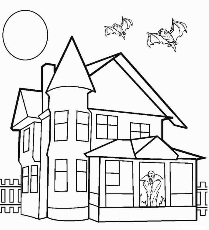Free Printable Haunted House Coloring Sheets