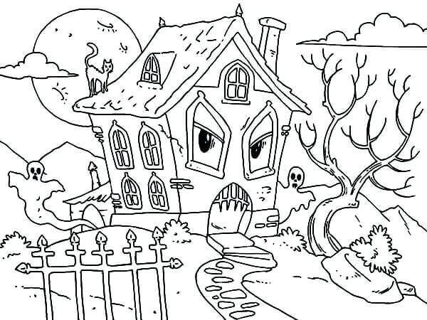 Funny Haunted House Coloring Page