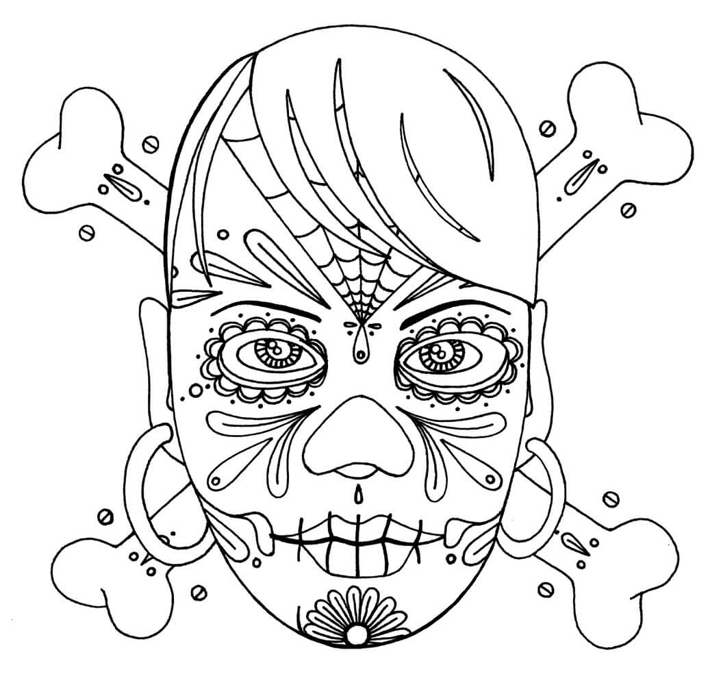 Girl Sugar Skull Coloring Page