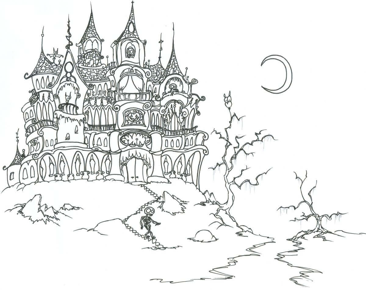 Haunted House Coloring Pages For Adults