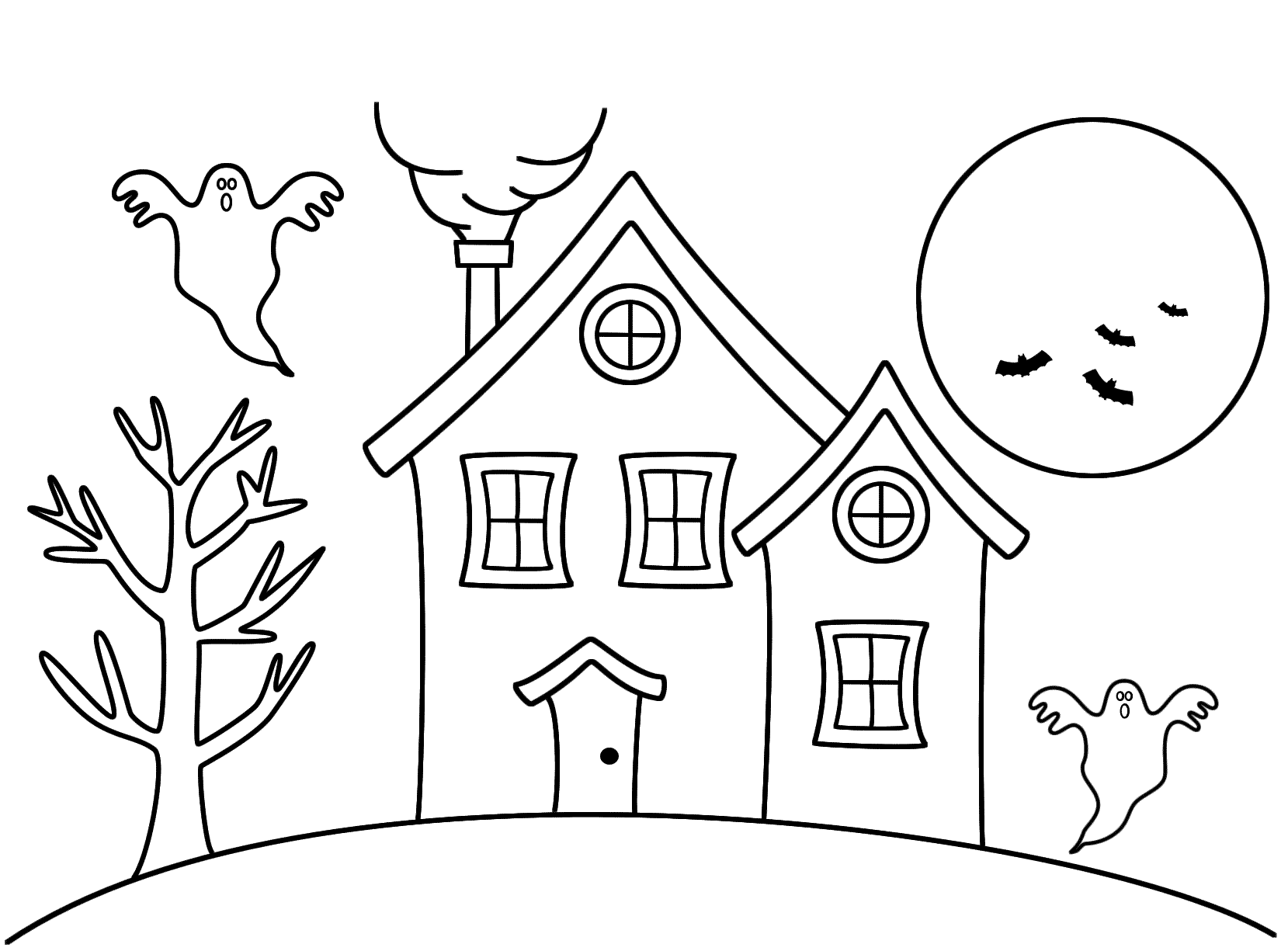 Haunted House Coloring Pages For Preschoolers
