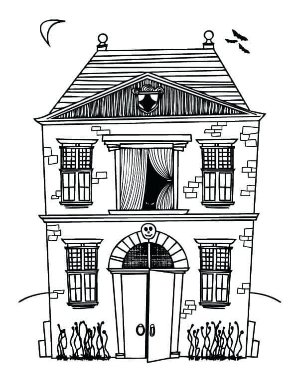 Haunted House Colouring Pages Printable