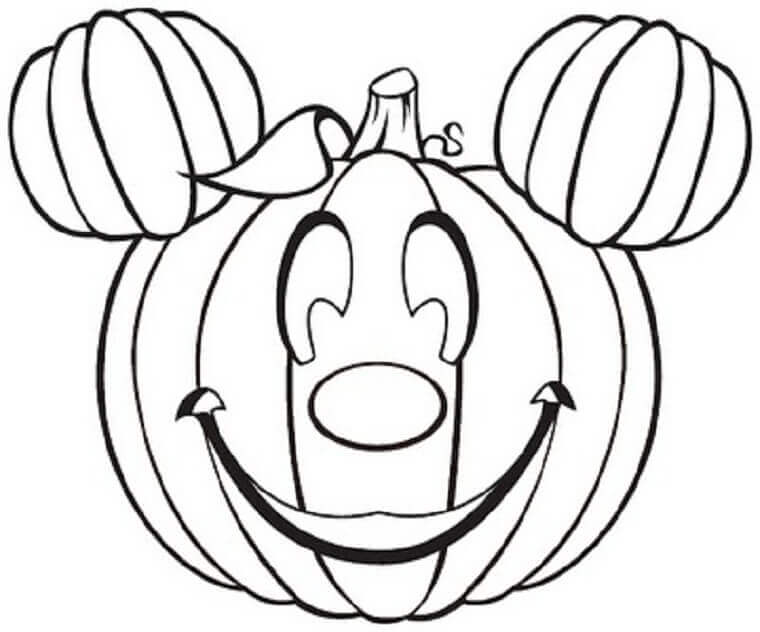 Mickey Pumpkin Coloring Page