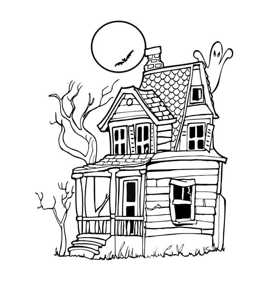 25 free printable haunted house coloring pages for kids for Coloring pages of haunted houses