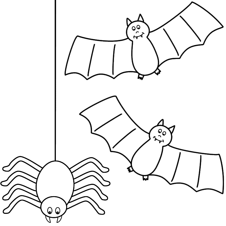 Spider And Bat Coloring Page
