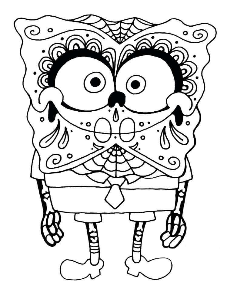 SpongeBob Sugar Skull Coloring Page