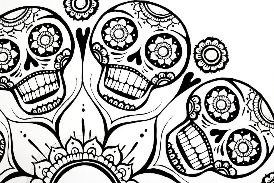 Sugar Skull Coloring Pages Printable
