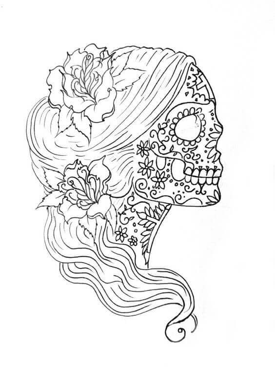 Sugar Skull Girl Coloring Pages