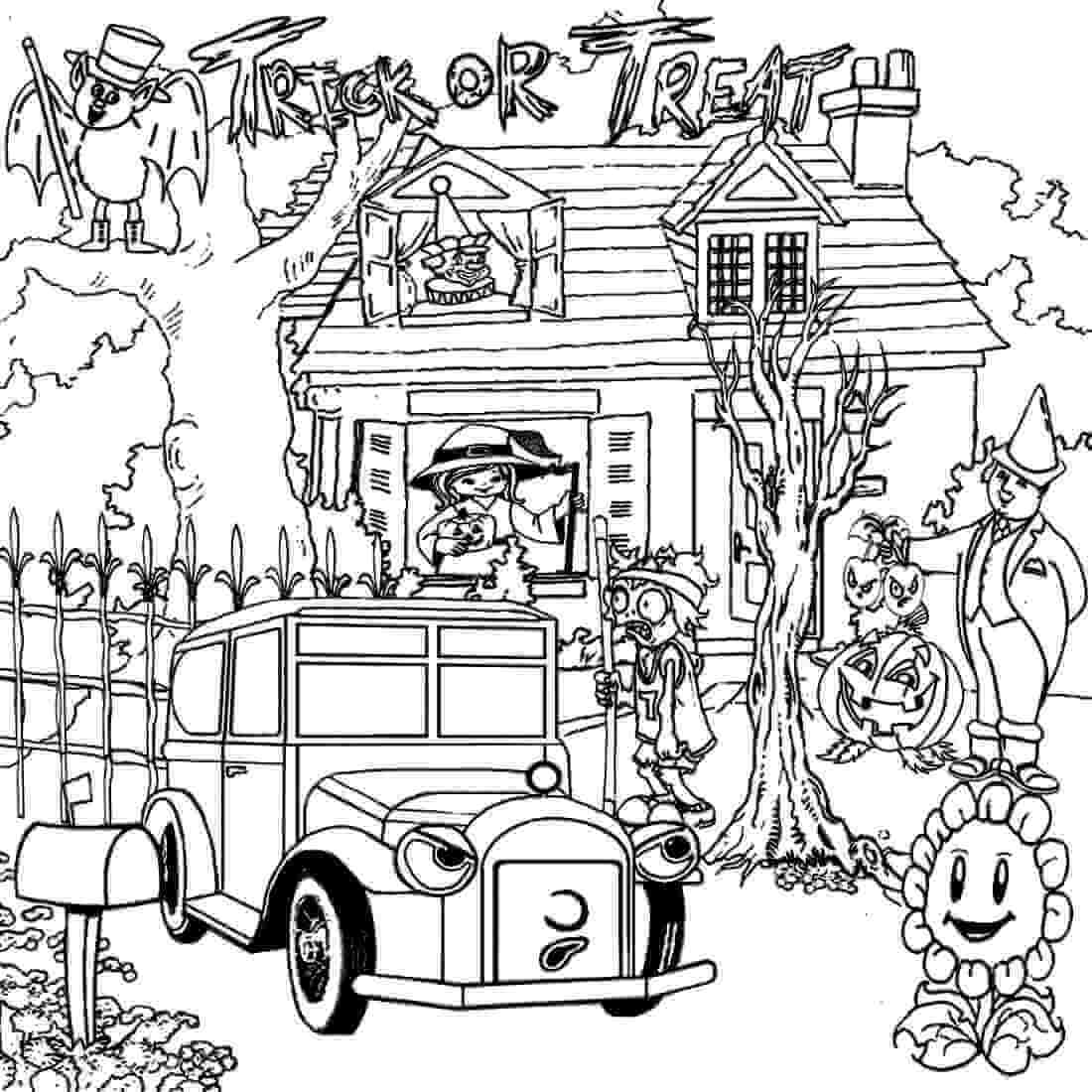 Trick Or Treat Haunted House Coloring Page