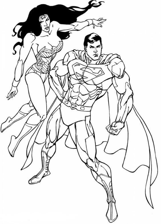 Wonder Woman And Superman Coloring Page