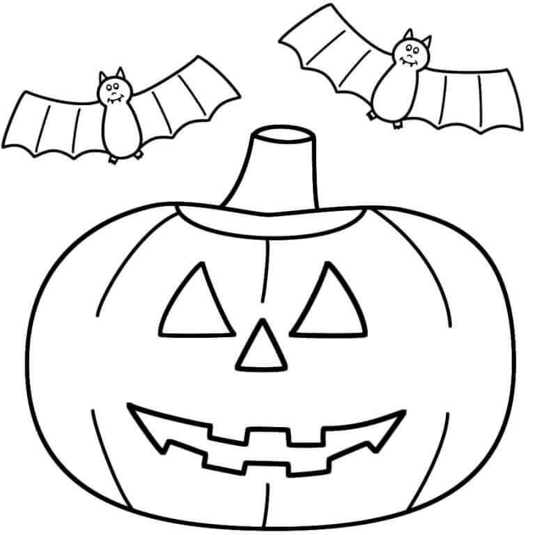 Bat And Jack O Lantern Coloring Page
