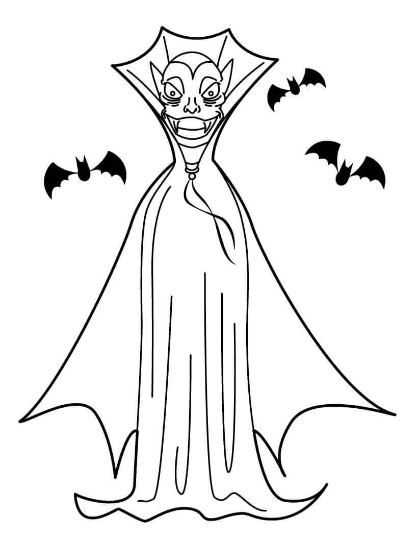 Bats And Vampire Coloring Page