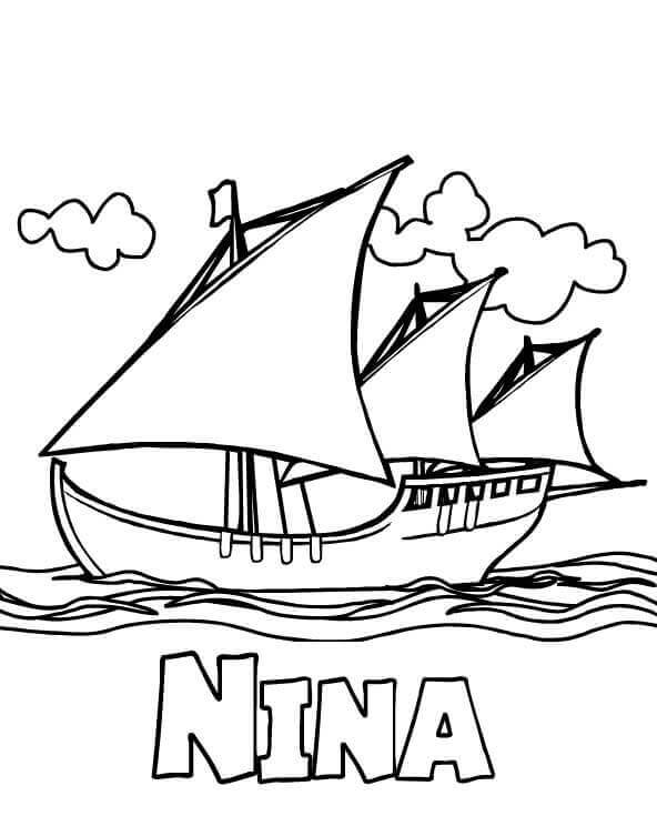 Columbus Day Nina Coloring Page