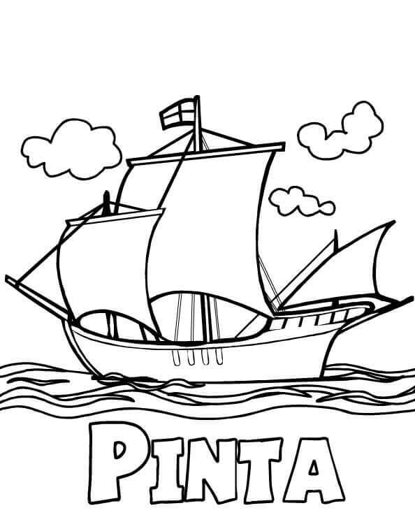 Columbus Day Pinta Coloring Pages