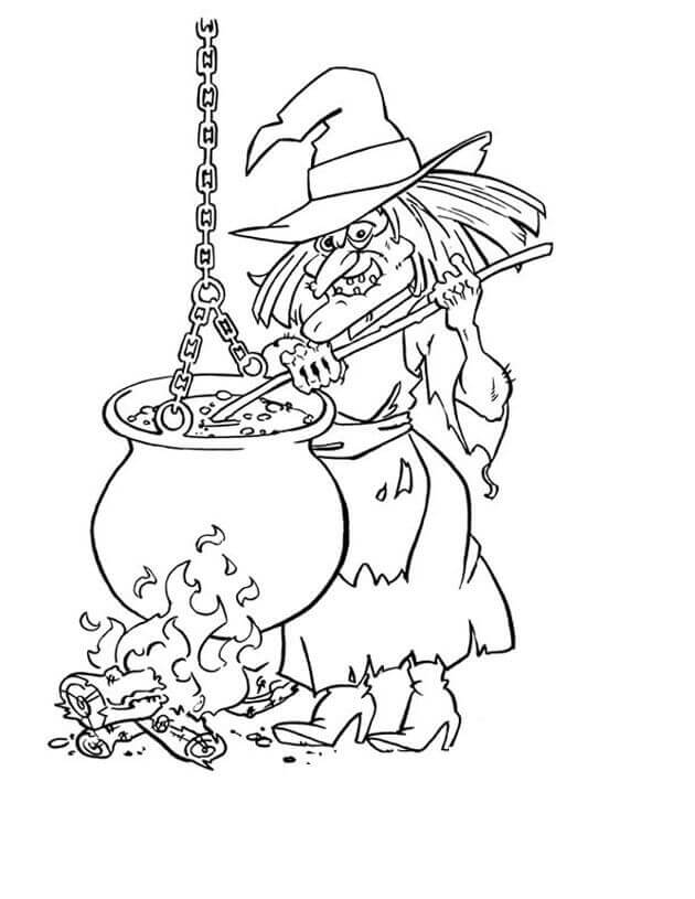 Creepy Witch Coloring Pages