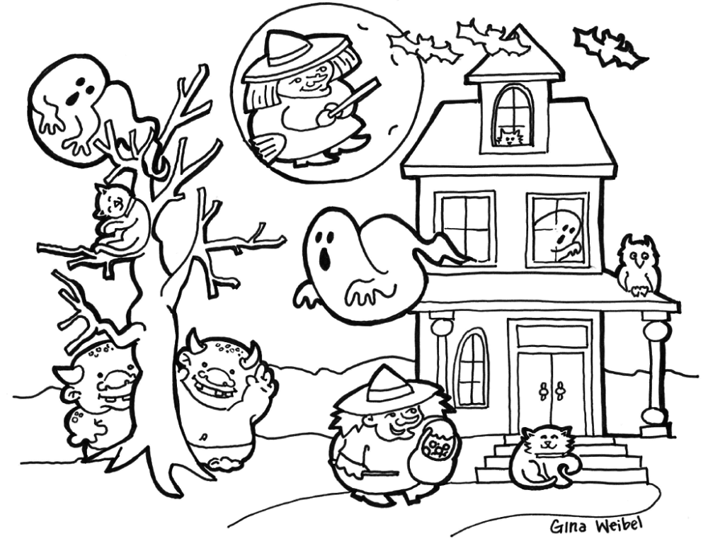 30 cute halloween coloring pages for kids for Cute halloween coloring pages free