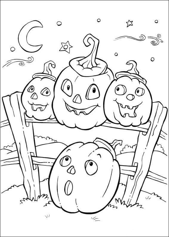 Cute Halloween Jack O Lanterns Coloring Pages