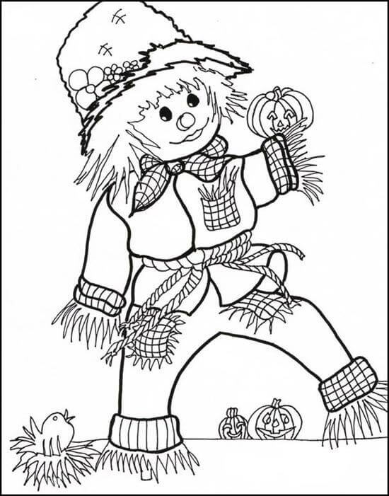 Cute Scarecrow Halloween Coloring Page