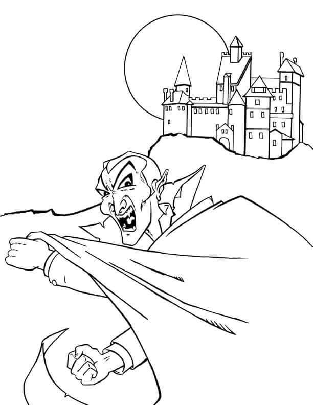 Dracula Vampire Coloring Page