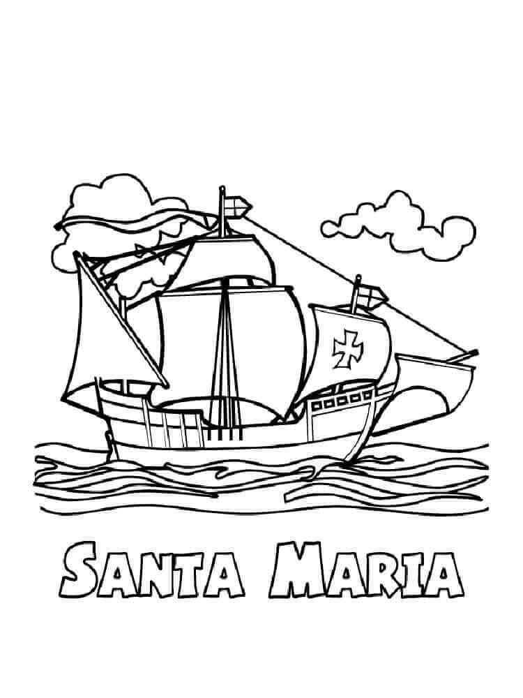 Free Columbus Coloring Pages Santa Maria