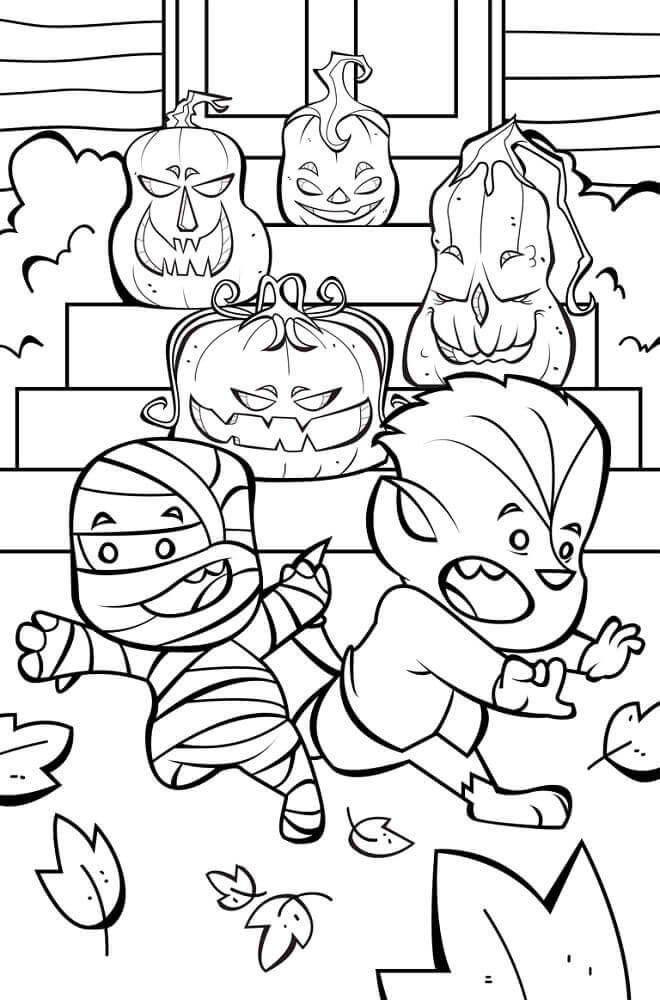 30 Cute Halloween Coloring Pages