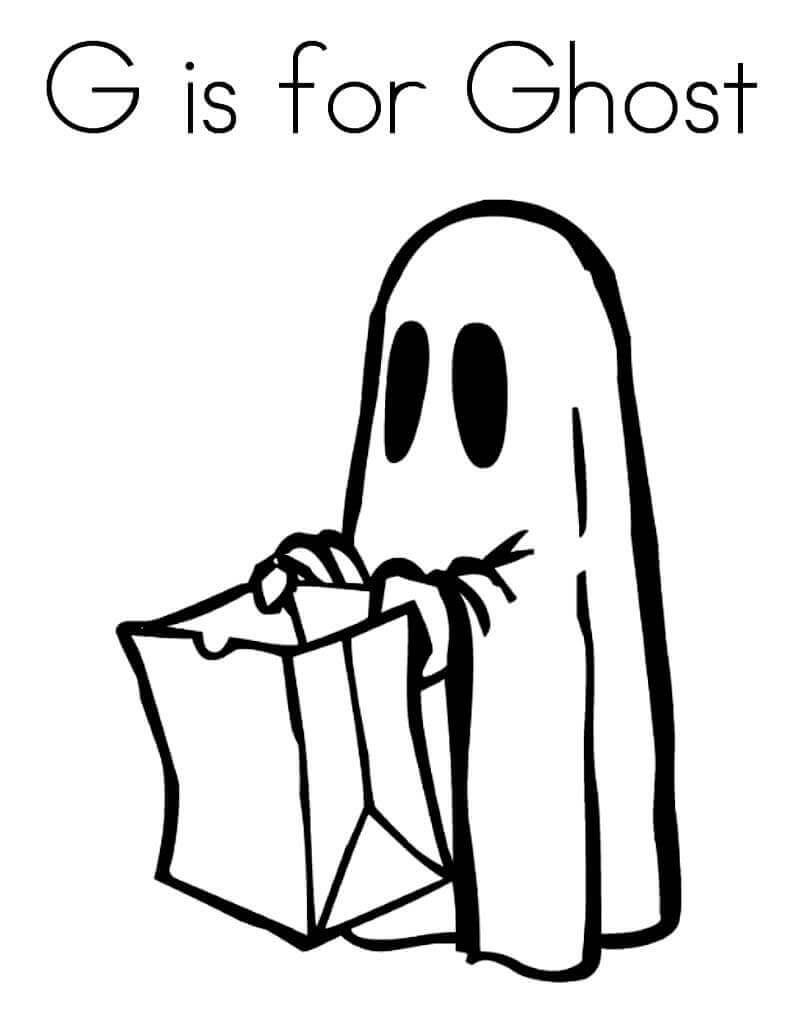 G For Ghost Coloring Page