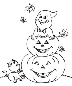 Ghost And Jack O Lantern Coloring Page