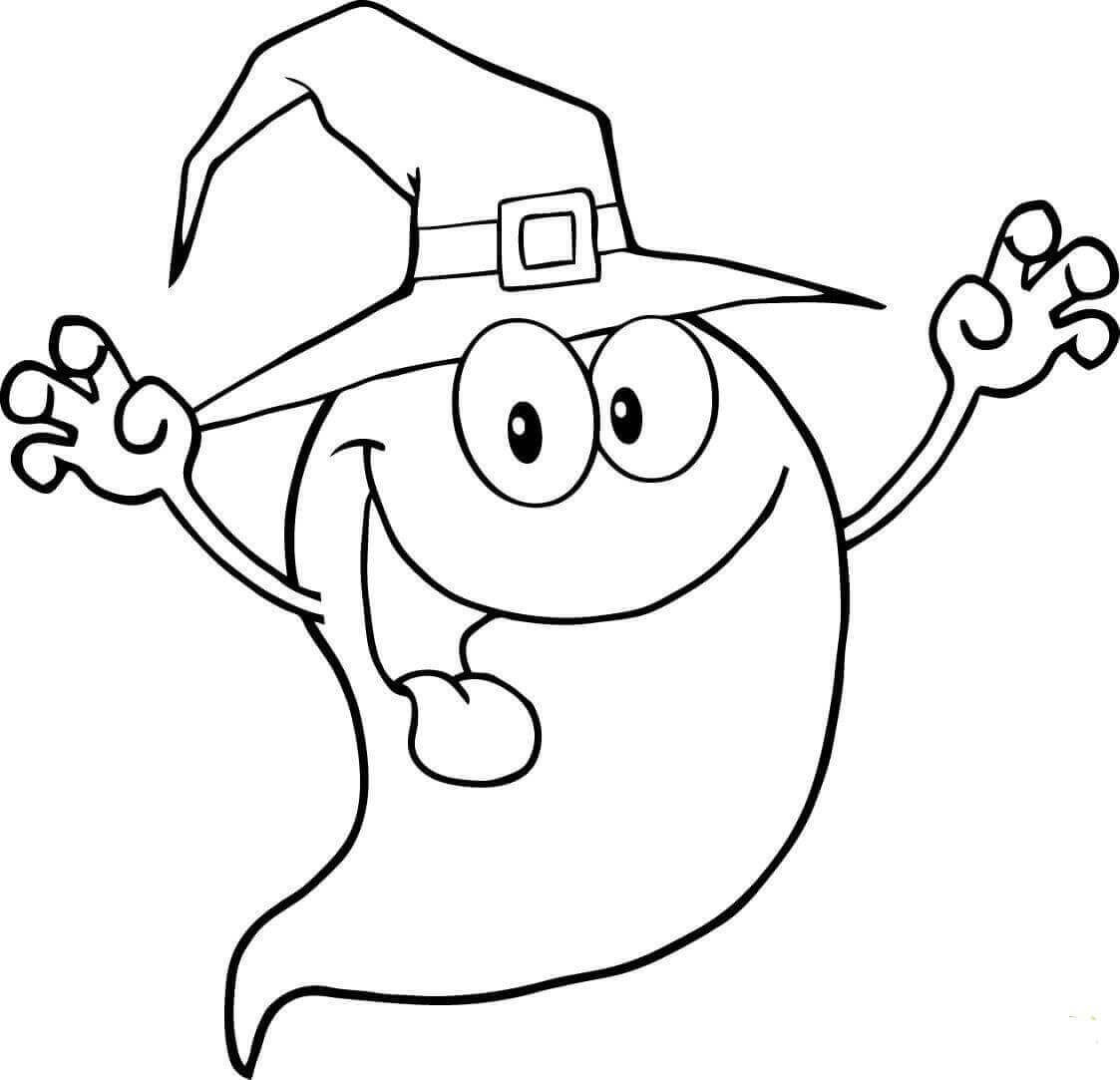 Ghost As Witch Coloring Page