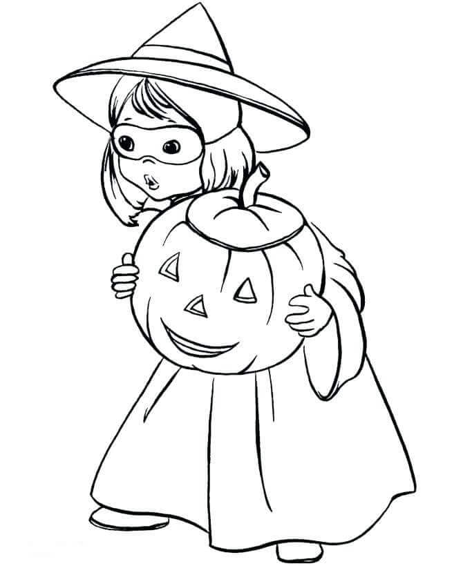 Girl With Jack O Lantern Coloring Page