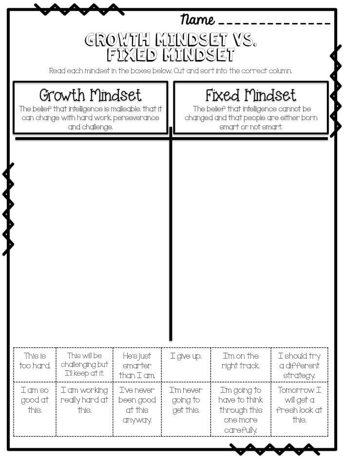 Growth Mindset Activity Sheets To Print