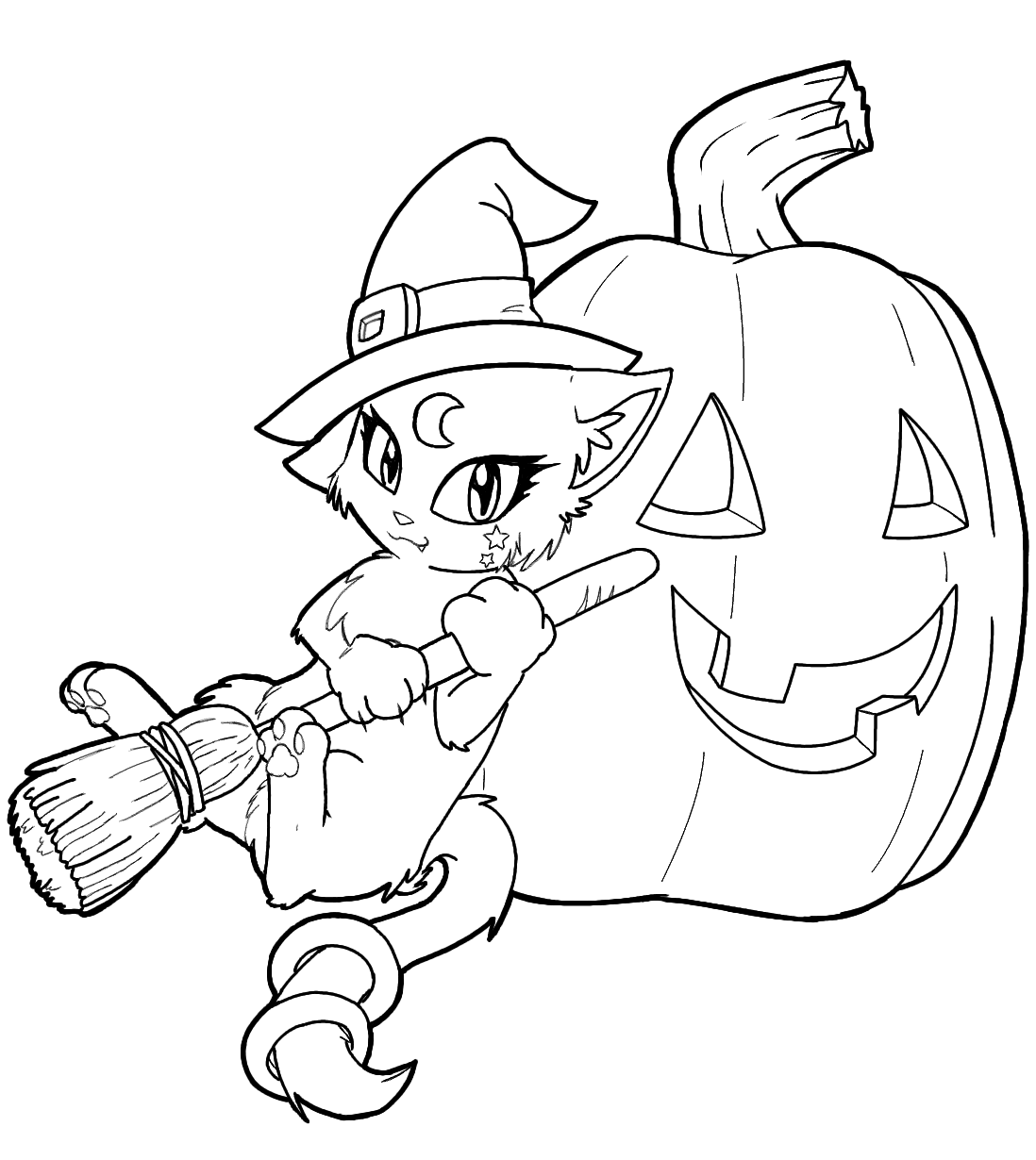 Cat Dressed As A Witch Coloring Page Halloween Printables