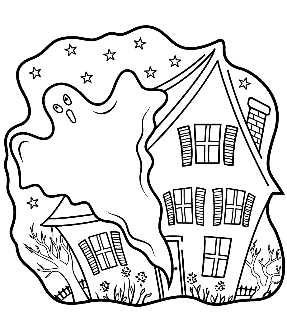 Haunted House And Ghost Coloring Page