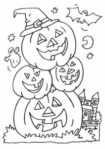 Haunted House And Jack O Lantern Coloring Page