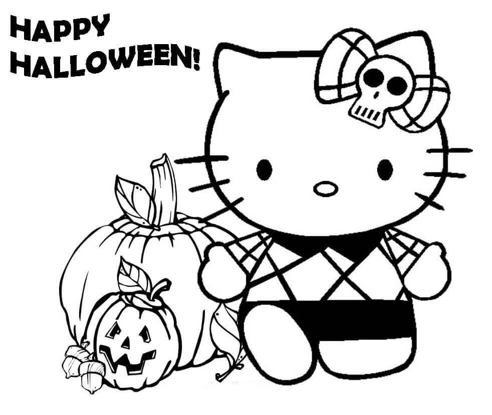 Hello Kitty Cute Halloween Coloring Pages Printable