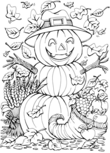 Jack O Lantern Scarecrow Coloring Page