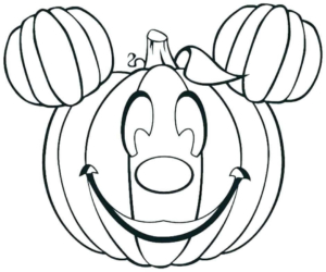 Mickey As Jack O Lantern Coloring Page