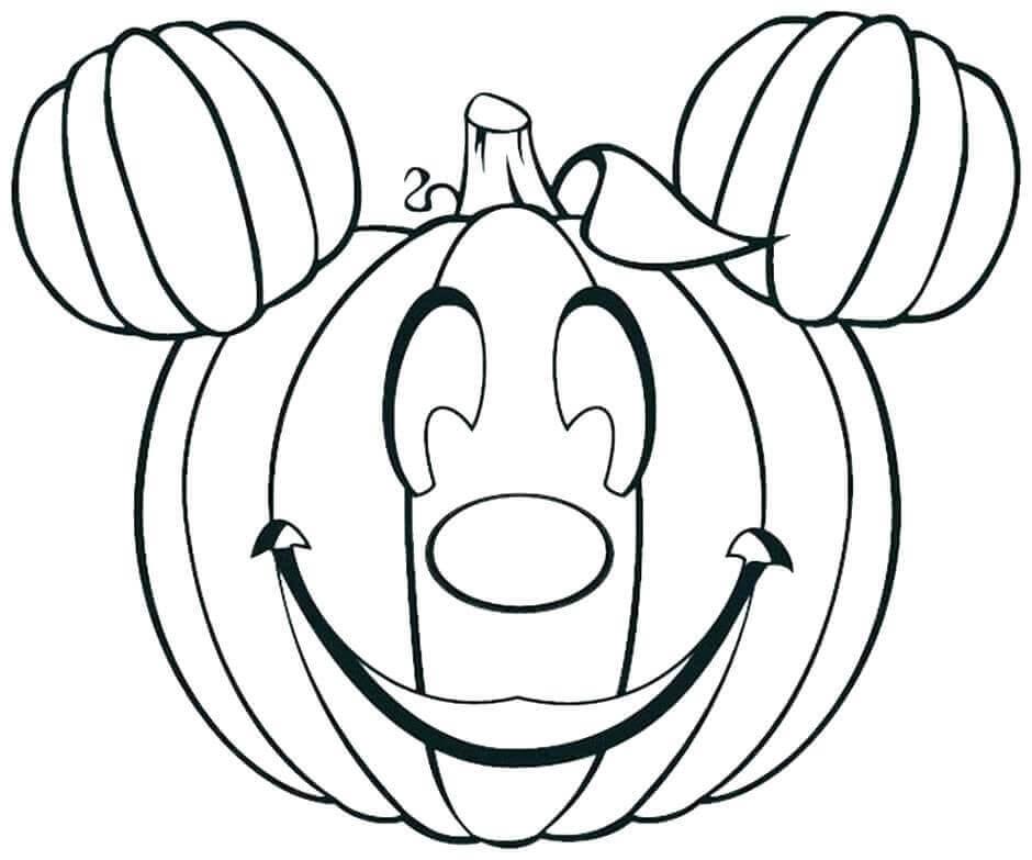 Mickey As Jack O Lantern Coloring Page