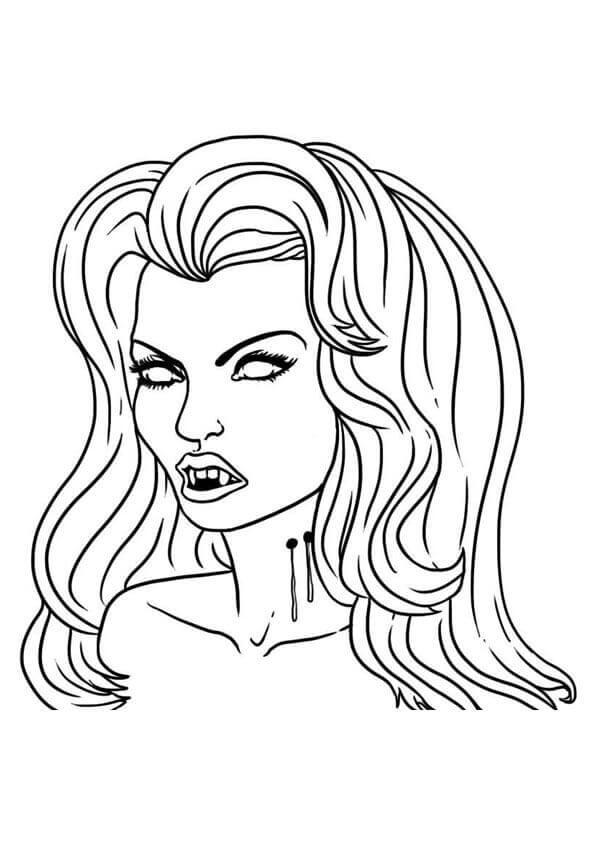 Mina Harker Vampire Coloring Page