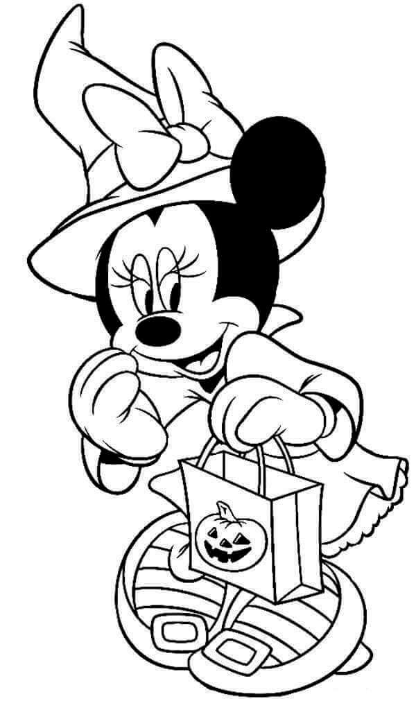 Minnie Mouse Disney Halloween Coloring Page