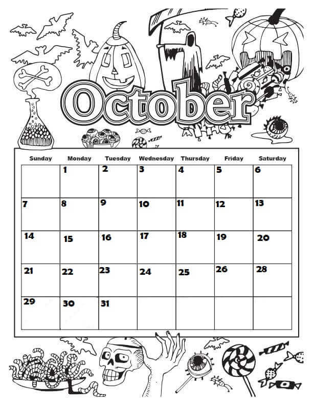 October 2018 Coloring Pages