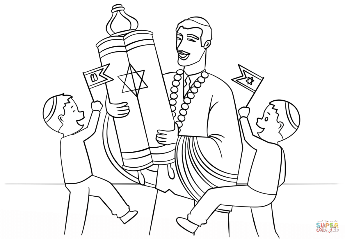 October Coloring Images Simchat Torah