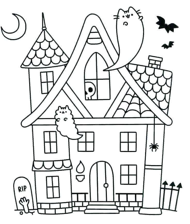 Pusheen As Ghost Coloring Page