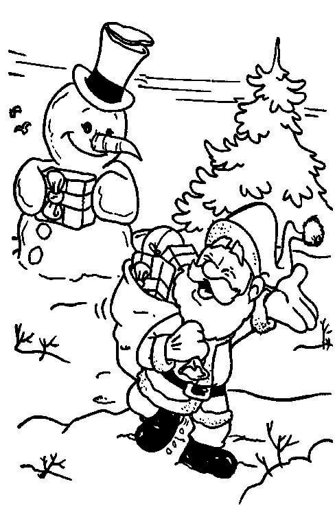 Santa And Snowman Coloring Page