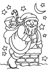 Santa Claus And Chimney Coloring Page