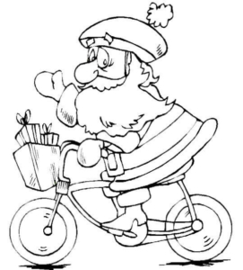Santa Cycling Coloring Page
