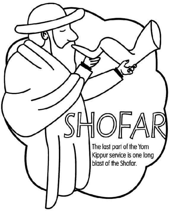 Shofar Rosh Hashanah Coloring Pages