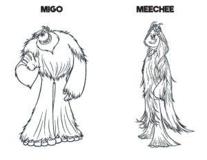 Smallfoot Film Coloring Pages Migo And Meechee