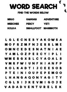 Smallfoot Movie Activity Sheet